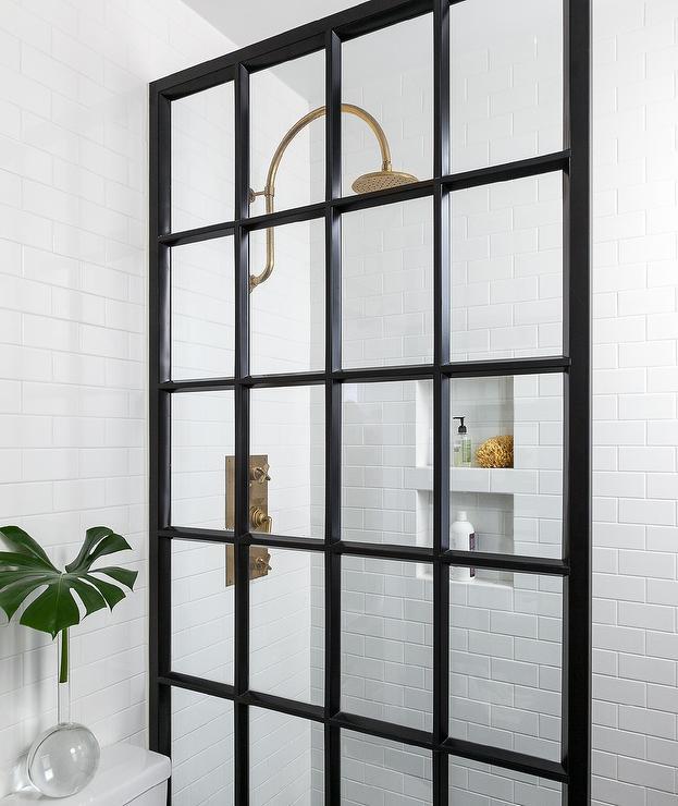 Vintage Brass Gooseneck Shower Head Contemporary Bathroom