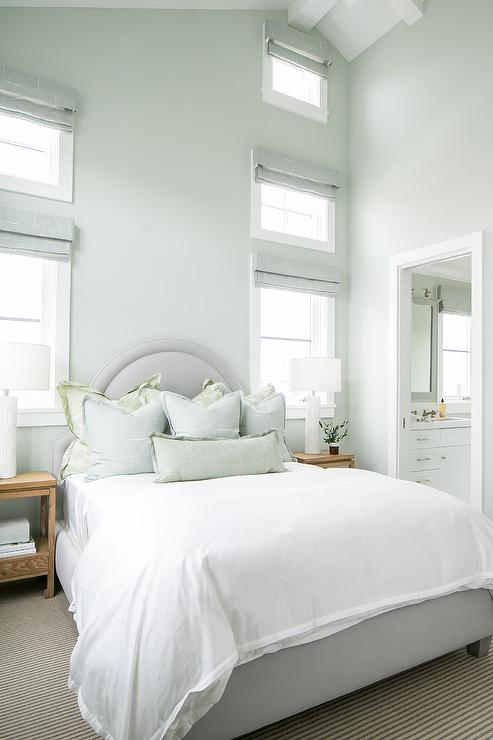 Green and Gray Beach Cottage Bedroom - Cottage - Bedroom