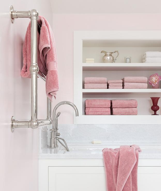 White wainscoted bathtub with blue subway tiles - Pink bathroom color schemes ...