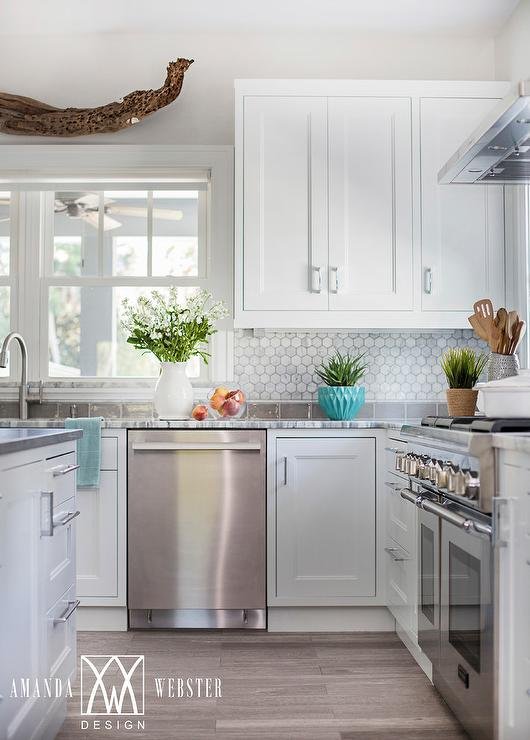 White Cabinets With White Marble Hex Backsplash Cottage