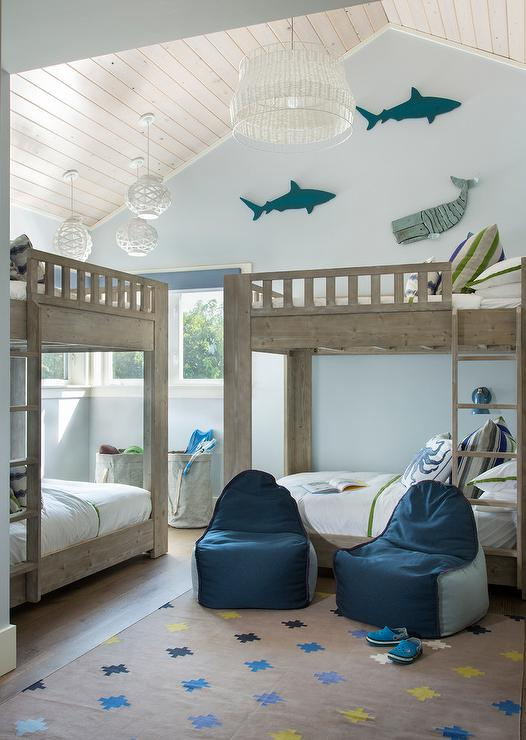 Blue Fish Themed Boys Bedroom With Gray Wash Bunk Beds Cottage Boy S Room