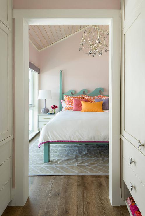 Blue Wood 2 Poster Bed With Pale Pink Walls Contemporary Bedroom
