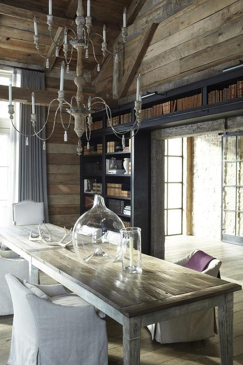 Phenomenal Cabin Dining Room With Built In Bookcases Country Dining Beutiful Home Inspiration Xortanetmahrainfo