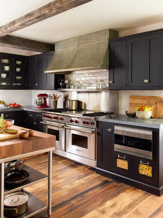 Black Kitchen Cabinets with Ivory Crackle Subway Tiles ...
