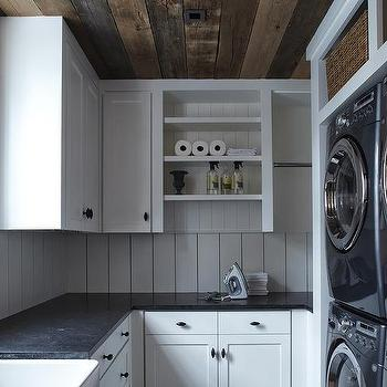 Rustic Laundry Room Plank Cabinets Country