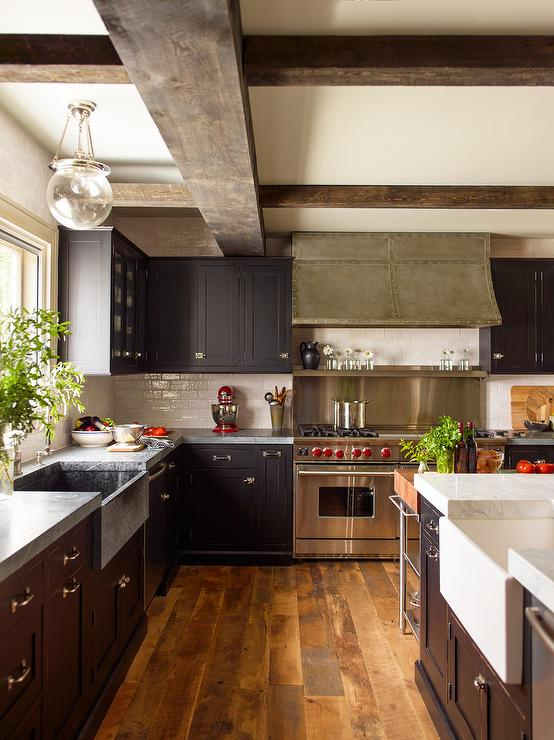 Black Kitchen Cabinets With Concrete Countertops Transitional