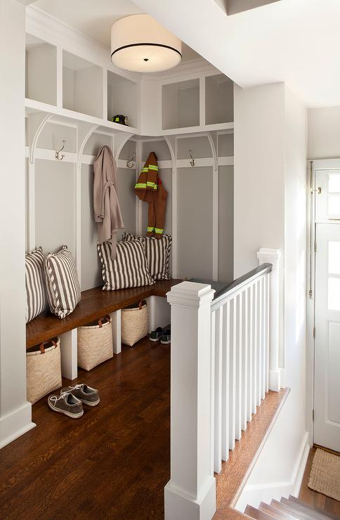 Mudroom Above Staircase Transitional Laundry Room