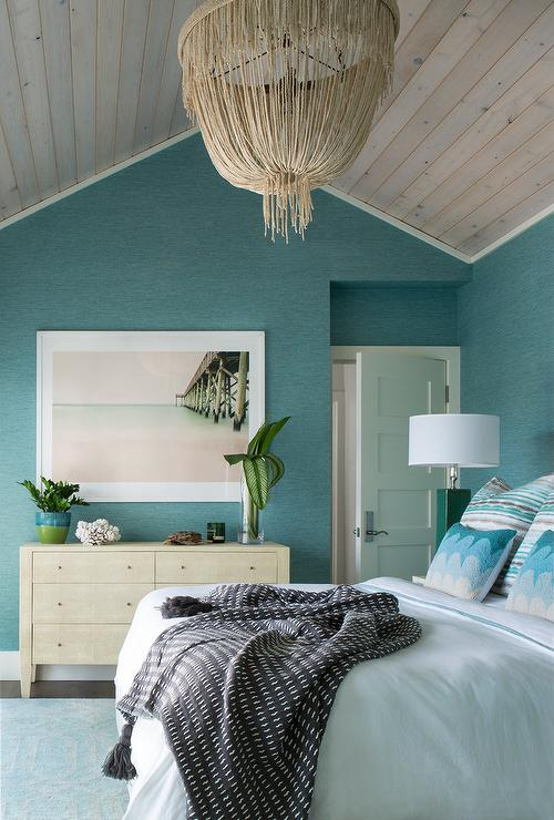 Blue beach bedroom with cream fringe chandelier Blue beach bedroom ideas