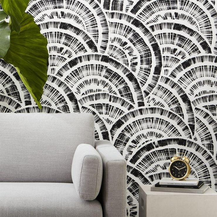 round modern black white fan like semi circles wallpaper