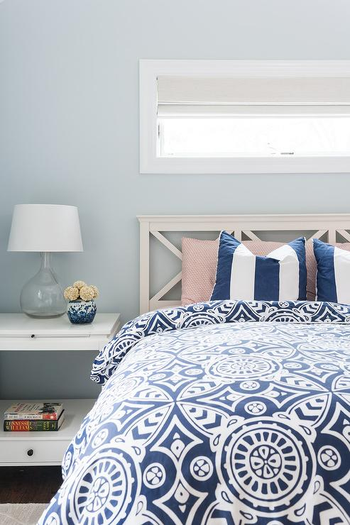 White And Blue Beach Style Bedroom Cottage Bedroom
