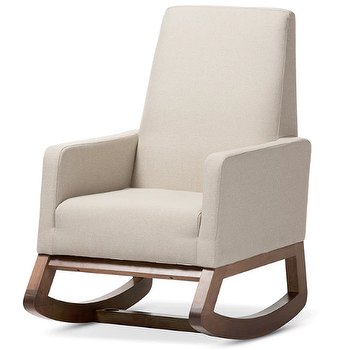 Baxton Studio Yashiya Mid Century Retro Modern Light Beige Fabric  Upholstered Rocking Chair