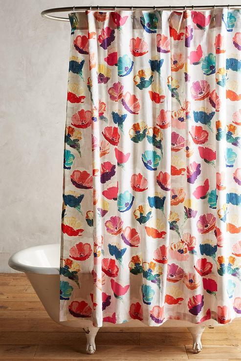 Magnolia Multi Colored Floral Shower Curtain