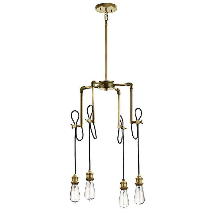 Kichler natural brass four exposed bulb mini chandelier aloadofball Image collections