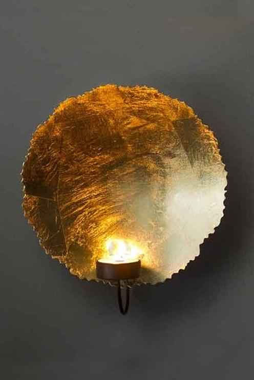 Smooth gold leaf tea light wall sconce aloadofball Images