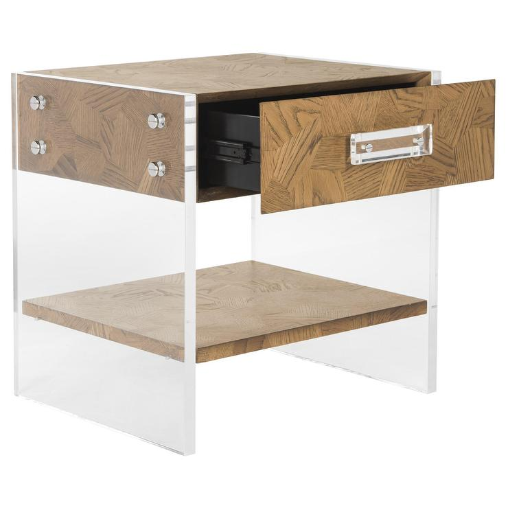 Gerrard Acrylic Oak Wood End Table
