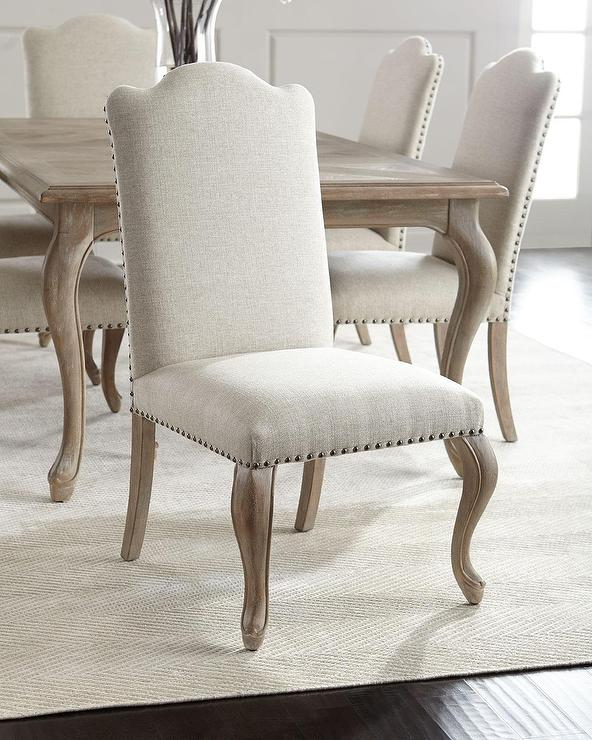 Bernhardt Oak Frame Studded Armless Side Chairs