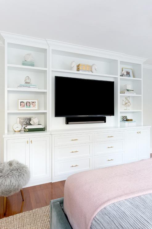 Bed facing built in tv unit transitional bedroom for Bedroom designs with tv unit