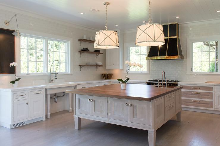 Square Kitchen Island with White Pleated Drum Pendant Lights ...