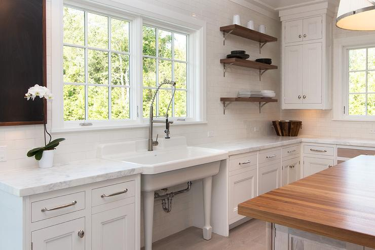 Kitchen Backsplash By Window freestanding vintage kitchen sink under windows - transitional
