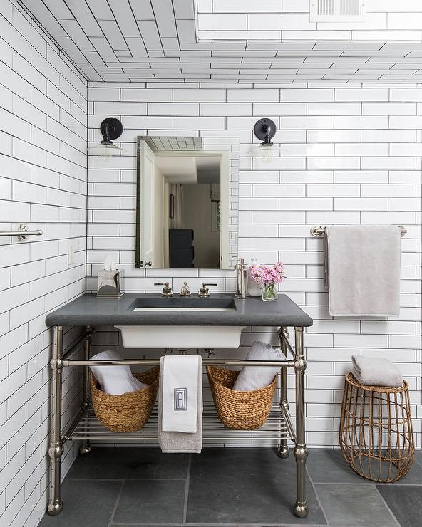 White Tile Bathroom Gray Grout white bathroom tiles with gray grout - transitional - kitchen