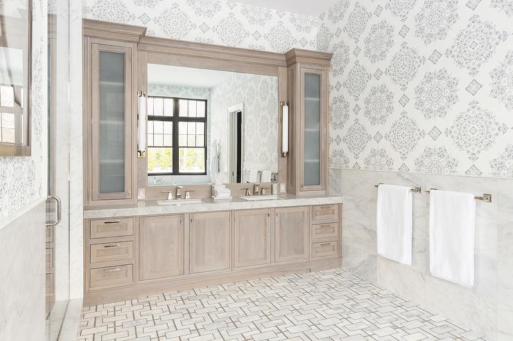 Bathroom Lights Gold Finish pearl walnut finish vanity cabinets with white and gold marble