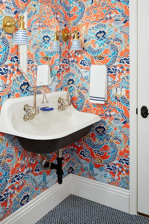 Powder Room With Imperial Dragon Wallpaper Contemporary