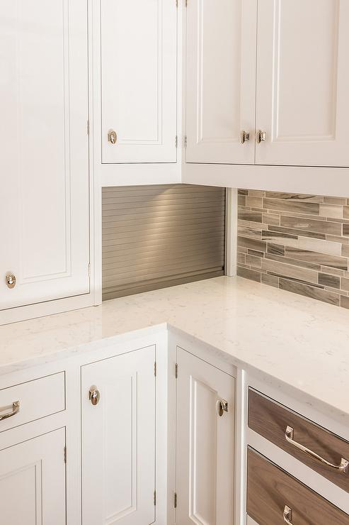 Small Kitchen Appliances Cabinet With Aluminum Garage Style Door Contemporary Kitchen