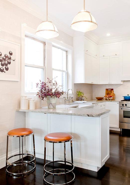 Gray Granite Kitchen Peninsula Orange Leather Barstools
