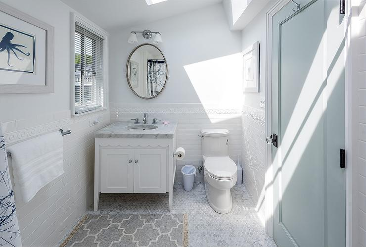 White And Blue Cottage Bathroom With Gray Quatrefoil Bath