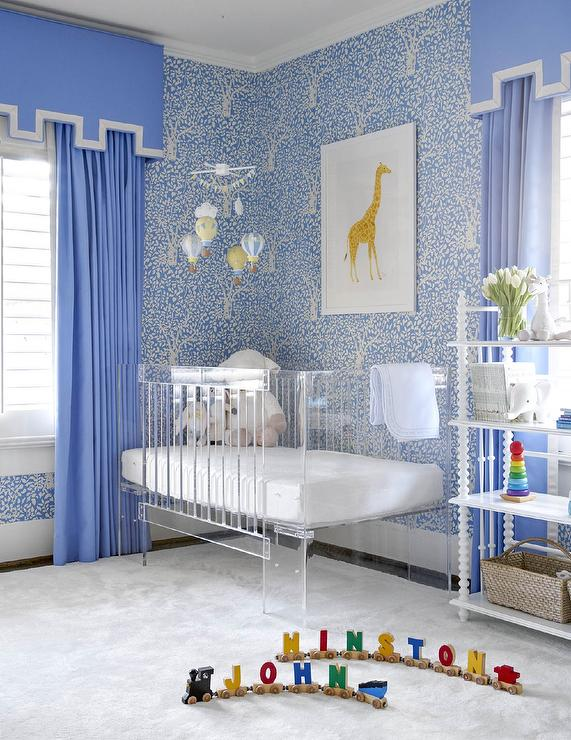 Blue Nursery With Lucite Crib Contemporary Nursery