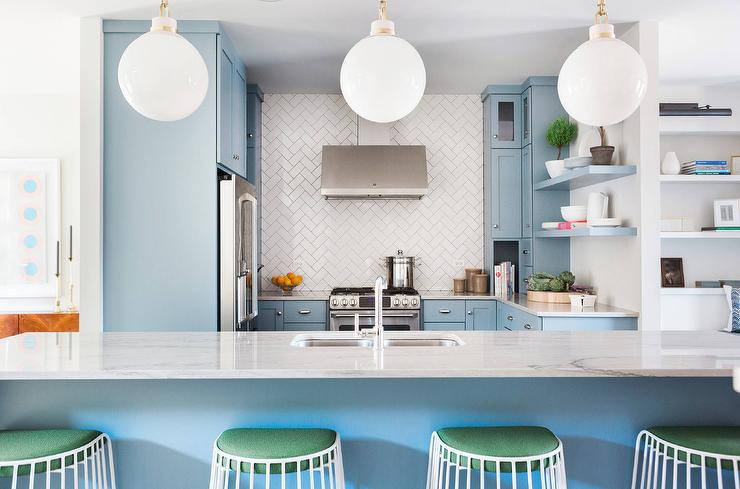 Delicieux Blue Kitchen Island With Green Half Moon Barstools