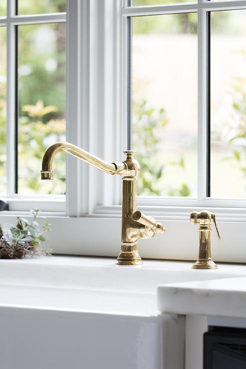 Antique Brass Vintage Kitchen Faucet With Farm Sink Transitional