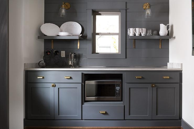 Dark Gray Butler Pantry Cabinets With Antique Brass
