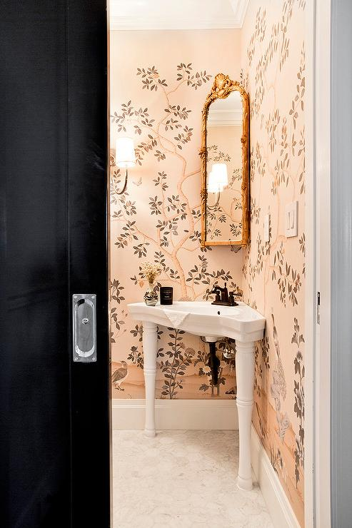 Chinoiserie Powder Room With Corner Sink Vanity