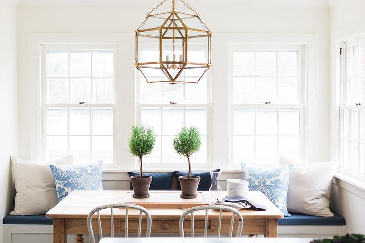 Beautiful Cottage Breakfast Nook Features A Suzanne Kasler Morris Lantern  Hung Over A Farmhouse Dining Table Seating Two White Metal Vintage Dining  Chairs ...