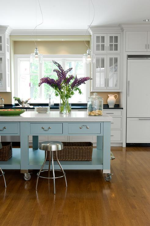 Blue Center Island With Industrial Stools Cottage Kitchen