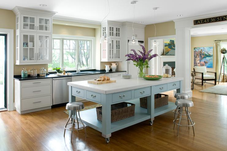 Freestanding Island For Kitchen | Freestanding Blue Kitchen Island On Wheels Cottage Kitchen