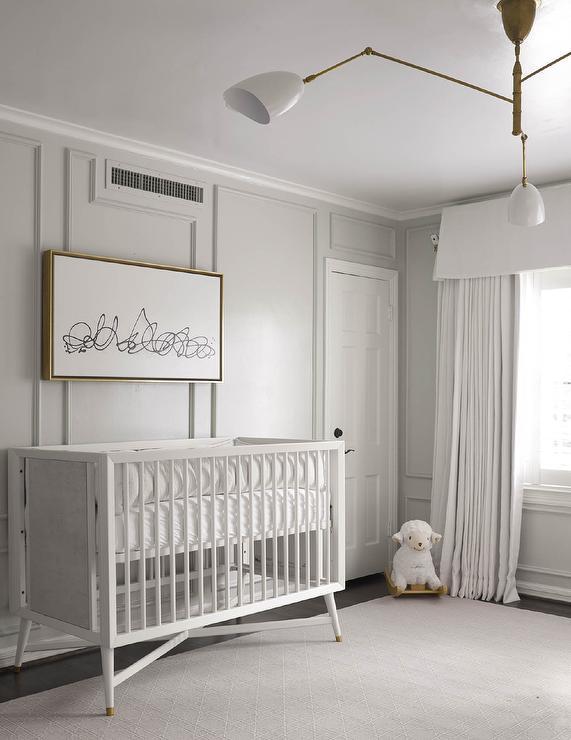 Gray Nursery With Gray Trim Moldings Transitional Nursery