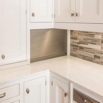 Small Kitchen Appliances Cabinet With Aluminum Garage Style Door