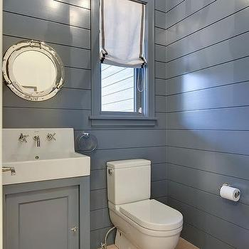 Blue Cottage Powder Room With Blue Shiplap Walls Cottage
