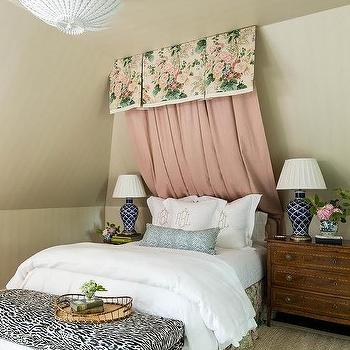 Pink and Navy Blue Girl Bedroom with Pink and Blue Curtains Behind ...