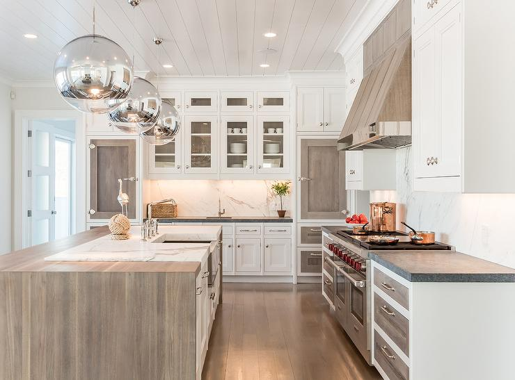 Matte Walnut Fridge Door Fronts Contemporary Kitchen
