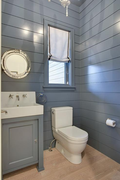Blue Shiplap Powder Room Cottage Bathroom