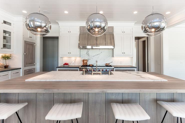 light stained trim walnut kitchen hood with nickel trim contemporary kitchen