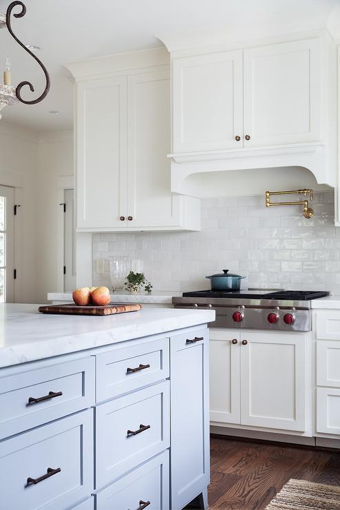 Glazed Kitchen Tile : White glazed kitchen tiles with brass swing arm pot filler