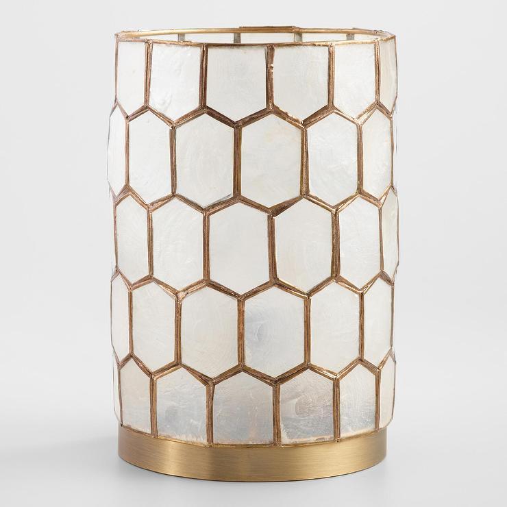 Gold Capiz Honeycomb Table Lamp