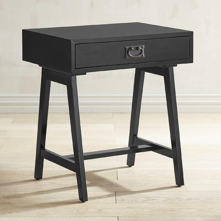 Good Campaign Antique Black Drawer Accent Table