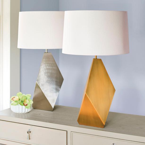 Edgy metallic table lamp geo edgy metallic table lamp mozeypictures Gallery