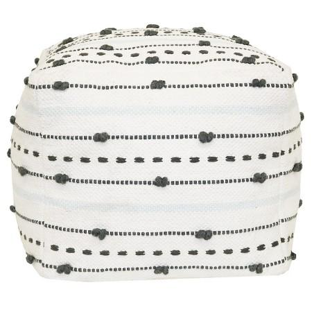 Awe Inspiring Textured Gray White Stripe Pouf Caraccident5 Cool Chair Designs And Ideas Caraccident5Info