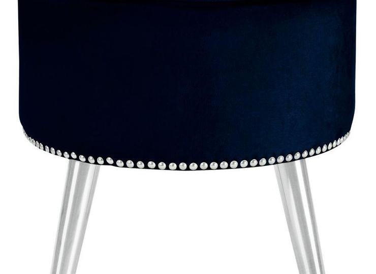 Perfect Annalise Navy Blue Velvet Ottoman HD41